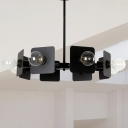 Black Square Shape Chandelier Lamp Industrial Style 8 Lights Metal Chandelier Lighting Fixture with Branching Design