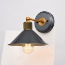 Conical Balcony Wall Lighting Metal 1 Light Industrial Style Wall Sconce Lamp in Black and Gold