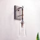 Bell Shade Wall Mounted Light Industrial Style Clear Glass 1 Light Hallway Sconce Lighting