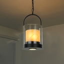 Clear Glass Cylinder Hanging Light Fixture Modern Style 2 Lights Indoor Ceiling Fixture with Inner Marble Shade