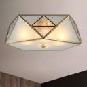 Geometric Curved Frosted Glass Flush Ceiling Light Traditional 4/5 Lights Living Room Flush Mount Lighting in Brass