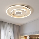 Ring Ceiling Lamp Minimalist Acrylic LED Flush Light Fixture in Remote Control Stepless Dimming/Warm/White Light, 18
