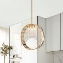 Circle Crystal Chandelier Lamp Modern Style 3 Lights Brass Suspension Pendant Light for Living Room