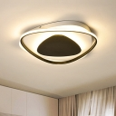 Black Triangle Ceiling Light Fixture Modernism Acrylic LED Flush Mount Light in Warm/White Light