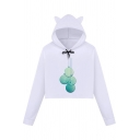 White Cute Long Sleeve Drawstring Christmas Printed Crop Relaxed Cat Ear Hoodie for Girls