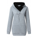 Simple Cartoon Butterfly and Letter Print Cowl Neck Long Sleeve Pouch Pocket Thick Graphic Hoodie