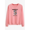 Basic Trendy Long Sleeve Crew Neck PERFECT GRAFFITIFUN Letter Loose Pullover Sweatshirt for Women