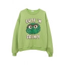 Streetwear Cool Long Sleeve Crew Neck Letter CUTE'N CRUMPY Cartoon Print Boxy Pullover Sweatshirt for Girls