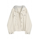 Casual Stylish Long Sleeve Hooded Drawstring Button Down Flap Pockets Patched Boxy Apricot Denim Coat for Women