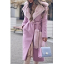 Fancy Street Ladies' Long Sleeve Exaggerate Collar Tied Waist Shearling Patched Long Relaxed Wrap Wool Coat in Pink