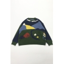 Creative Park Landscape Paint Long Sleeve Blue and Green Oversized Knit Sweater