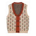 Stylish Ladies' Sleeveless V-Neck Floral Printed Double Breasted Purl-Knit Loose Cardigan Vest in Apricot