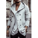 Mens Daily Casual Plain Gray Long Sleeve Double Breasted Peacoat Hooded Wool Coat