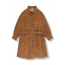 Fashion Popular Women's Balloon Sleeve Lapel Collar Button Down Buckle Belted Corduroy Relaxed Plain A-Line Dress