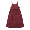 Cute Girls' Sleeveless Button Detail Plaid Patterned Bow Tie Waist Relaxed Pleated Babydoll Dress