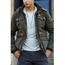 New Fashionable Plain Long Sleeve Zip Placket Tunic Padded Coat with Hood for Men