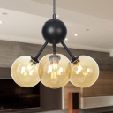 Amber/Clear/Smoke Gray Glass Ball Chandelier Lighting Industrial Style 3/9/12 Lights Hanging Fixture for Living Room, 13