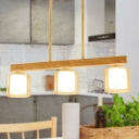 Linear Dining Room Island Lamp Wood 3/4 Lights Contemporary Hanging Ceiling Light with Cylinder White Glass Shade Inside