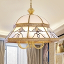 6 Bulbs Sandblasted Glass Chandelier Colonial Gold Dome Bedroom Pendant Lighting Fixture
