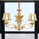 Metal Gold Chandelier Lighting Starburst 3/6/8 Heads Colony Pendant Light Fixture with Flared Opal Frosted Glass Shade