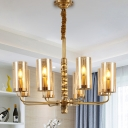 Clear Glass Cylinder Chandelier Lamp Colonial 8 Heads Living Room Pendant Light Fixture