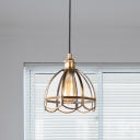Vintage Scalloped Hanging Pendant 1 Head Clear Glass Suspended Lighting Fixture for Bathroom