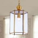 Clear Glass Lantern Suspension Lamp Classic 1 Head Porch Pendant Light Fixture
