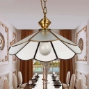 1 Bulb Scalloped Hanging Pendant Light Traditional Gold Seeded Glass Ceiling Suspension Lamp for Restaurant