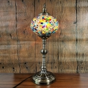 Single Light Spherical Table Lamp Turkish Bronze Stained Glass Night Light for Bar