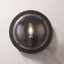 Black 1 Light Wall Lamp Vintage Metal Round Wall Mount Light for Living Room