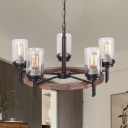 Cylinder Kitchen Pendant Chandelier Traditional Clear Bubble Glass 5 Heads Hanging Ceiling Light