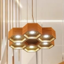 Honeycomb Wood Chandelier Pendant Light Modern 6 Lights Beige Suspension Light for Living Room