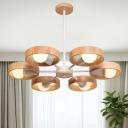 Sputnik Hanging Ceiling Light Modern Wood 6 Bulbs White Chandelier Pendant Light