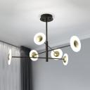 Black Branch Suspension Light Modern 6 Heads Metal Chandelier Pendant Light for Bedroom