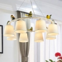 Tapered Fabric Ceiling Chandelier Contemporary 8 Lights Flaxen Suspension Pendant with Bird Deco