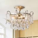 Crstal Raindrop Semi Flush Traditional 4 Heads Brass Ceiling Mount Light Fixture