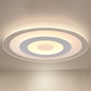 Circle Flush Mount Lamp Minimalist Acrylic White LED Ceiling Light Fixture in Outer White Inner Warm/Outer Warm Inner White Light, 16
