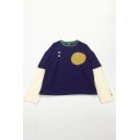 Street Cute Girls' Long Sleeve Crew Neck Eyes Geo Printed Contrasted Oversize T-shirt in Dark Blue