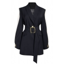 Chic Black Long Sleeve Shawl Collar Buckle Belted Contrasted Ruffle Trim Slim Slit Back Midi Blazer for Ladies
