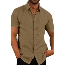 Mens Street Casual Plain Short Sleeves Single Breasted Loose Fit Linen Shirt for Summer