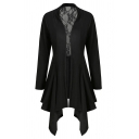 Trendy Ladies' Long Sleeve See-Through Mesh Patched Asymmetric Pleated Plain Fitted Dress Coat