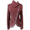 Unique Chic Women's Long Sleeve Exaggerate Collar Button Front Asymmetric Slim Fit Plain Wool Coat