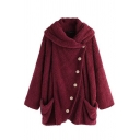 Thick Warm Long Sleeve Exaggerate Collar Button Front Pockets Side Sherpa Fleece Plain Baggy Coat for Girls