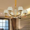 Sputnik Crystal Block Suspension Light Postmodern 6/8/12 Heads Living Room Hanging Chandelier in Gold