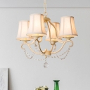 4 Heads Crystal Drop Ceiling Lamp Traditional Beige Tapered Bedroom Chandelier Light Fixture, with Shade/Shadeless