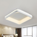 Acrylic Square Flush Mount Light Fixture Modern LED White Ceiling Fixture in 3 Color Light/Remote Control Stepless Dimming, 19
