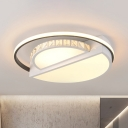 Circle Ceiling Mounted Fixture Modern Acrylic LED Living Room Flushmount Lighting in White