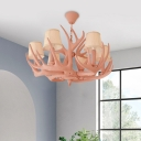 Resin Faux Antler Pendant Chandelier Traditional 6 Bulbs Ceiling Hanging Light in Pink