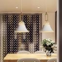 Minimalist Bell Shape Hanging Pendant Light Metal 1 Light Dining Room Suspension Lamp in White