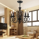 Black Armed Chandelier Lighting Traditionary Metal 3/5/6 Heads Living Room Ceiling Pendant Light